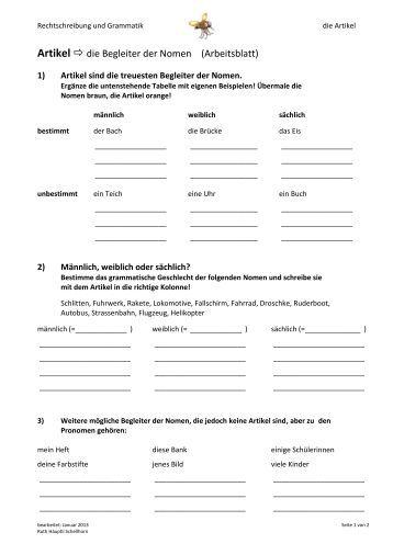 Arbeitsblatt Nomen Begleiter : Nomen arbeitsblatt a