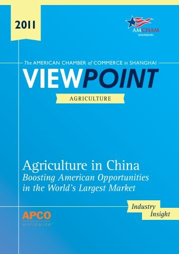 Agriculture in China - American Chamber of Commerce in Shanghai