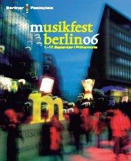 Musikfest Programm - Berliner Festspiele