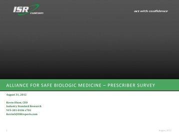 ASBM Biosimilars Survey - Alliance for Safe Biologic Medicines
