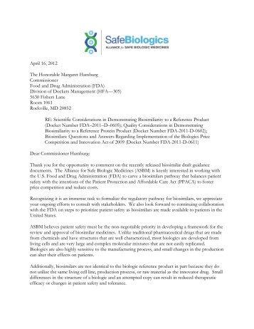 comments - Alliance for Safe Biologic Medicines