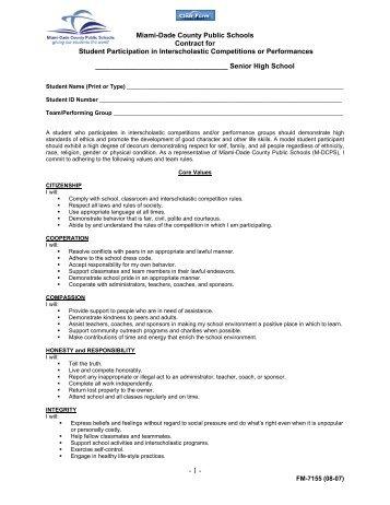 Miami-Dade County Public Schools Contract for Student ...