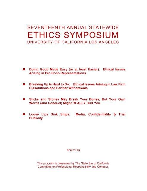 Ethics Symposium Ethics State Of California