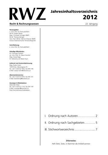 RWZ Jahresinhaltsverzeichnis 2012 - Heft 5/2013 vom 27.05.2013