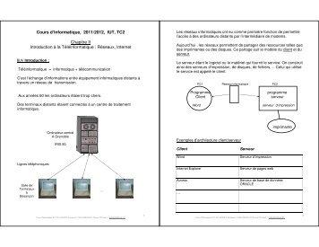Cours d'Informatique, 2011/2012, IUT, TC2 Chapitre ... - Index of - Free