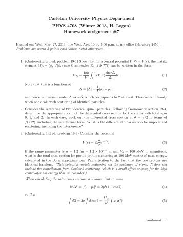pdf file of in class assignment for week physics assignment 7 pdf department of physics carleton university