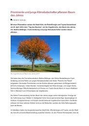 Prominente und junge Klimabotschafter pflanzen Baum des Jahres
