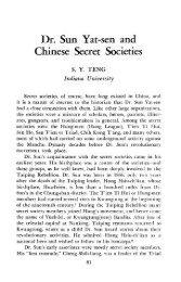 Dr. Sun Yat-sen and Chinese Secret Societies - Studies on Asia