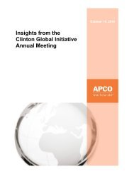 Insights from the Clinton Global Initiative Annual ... - APCO Worldwide