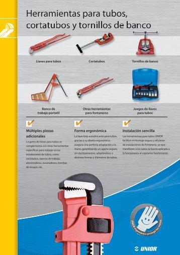 6 Herramientas para tubos, cortatubos y tornillos de banco - Unior