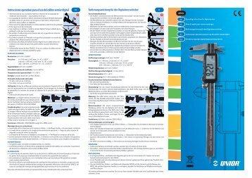 Instrucciones operativas para el uso del calibre vernier digital - Unior