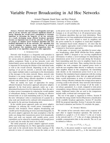 Variable Power Broadcasting in Ad Hoc Networks - The University of ...