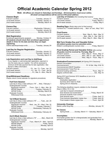 Official Academic Calendar Spring 2012 - The University of Texas at ...