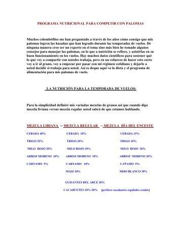PROGRAMA NUTRICIONAL PARA COMPETIR CON ... - Webgarden