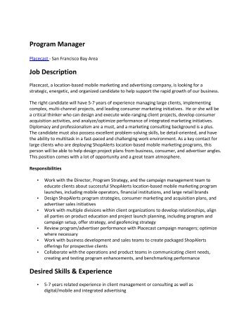 Job Description ProgramStation Manager  Eucarpia