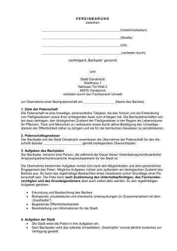 Bachpatenschafts-Vereinbarung Vereine - Lebendige Hase