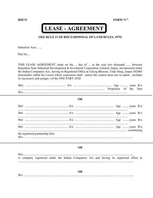 Lease Agreement For One Time Full Payment Form Riico