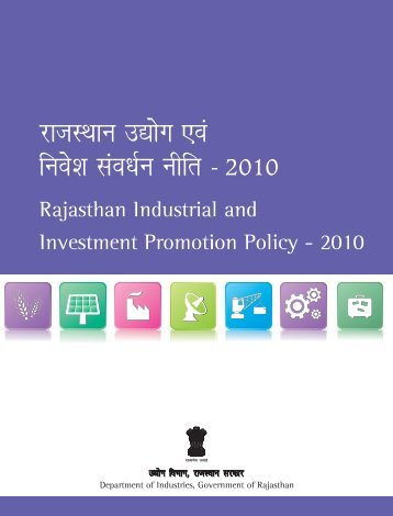Rajasthan Industrial and Investment Promotion Policy - 2010 - RIICO