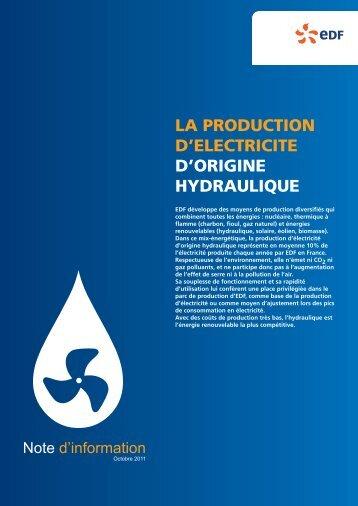 La production d'électricité d'origine hydraulique - Energie EDF