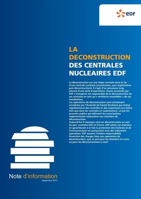 La déconstruction des centrales nucléaires EDF