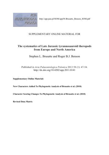The systematics of Late Jurassic tyrannosauroid theropods from ...