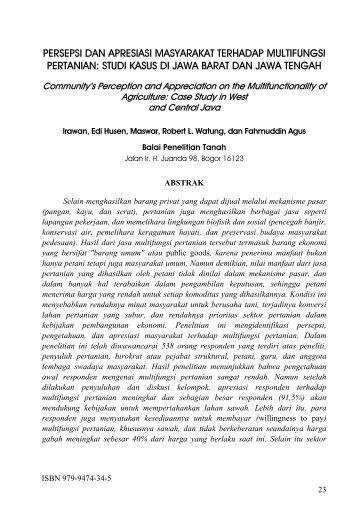 Persepsi dan Apresiasi Masyarakat terhadap Multifungsi Pertanian