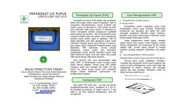 Perangkat Uji Pupuk - Balai Penelitian Tanah - Departemen Pertanian