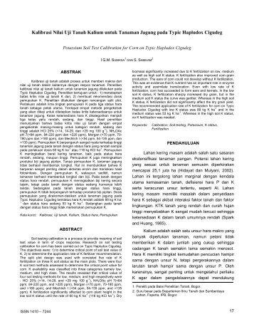 Kalibrasi Nilai Uji Tanah Kalium untuk Tanaman Jagung pada Typic ...