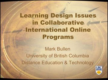 Learning Design Issues in Collaborative International Online ...