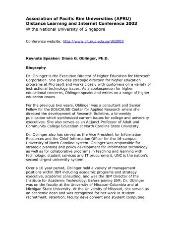 Distance Learning and Internet Conference 2003 @ the National ...