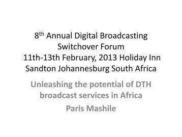 Unleashing the potential of DTH broadcast services in Africa