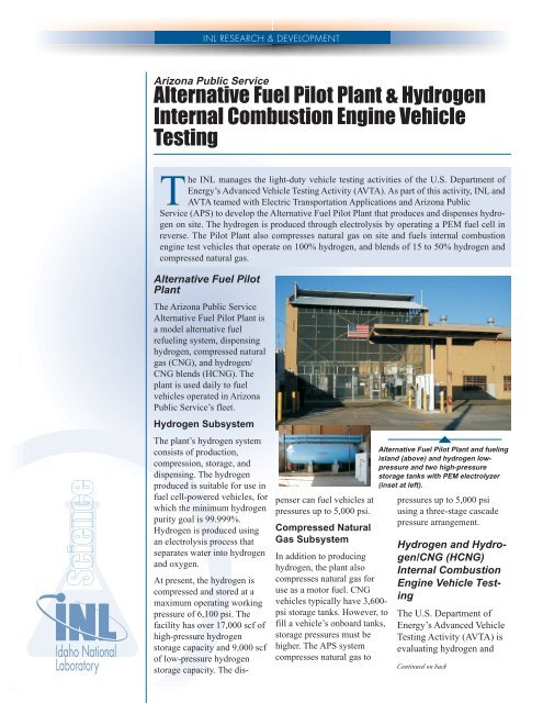 Alternative Fuel Pilot Plant Hydrogen Internal Combustion Engine