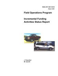Field Operations Program Incremental Funding Activities Status Report
