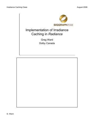 Implementation of Irradiance Caching in Radiance