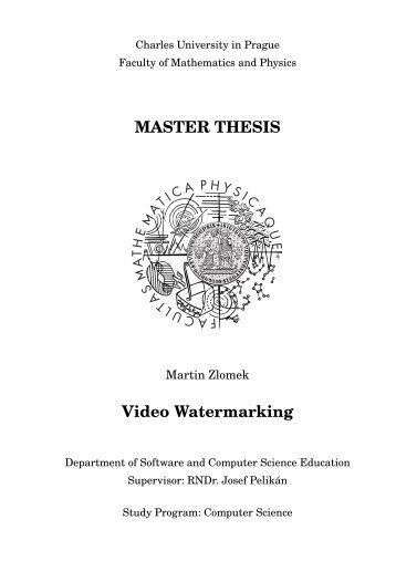 MASTER THESIS Video Watermarking - Computer Graphics Group ...