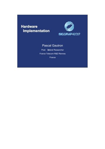 Hardware Implementation Hardware Implementation - CiteSeerX