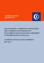 (Consumer Protection) Bill - Communications Alliance