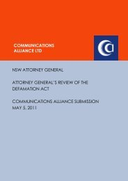 May 2011 Defamation Act review - Communications Alliance