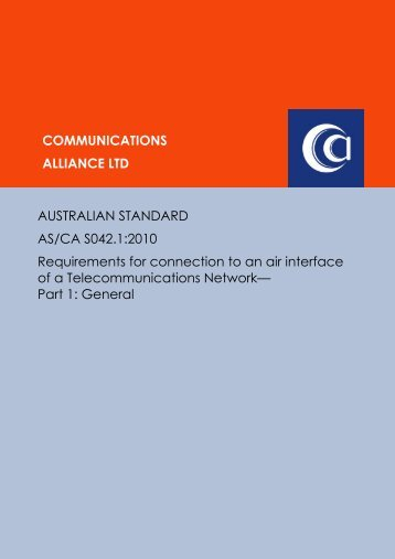 AS/CA S042.1:2010 - Communications Alliance