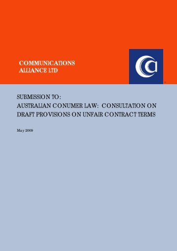 May-09 Unfair Contract Terms - Communications Alliance