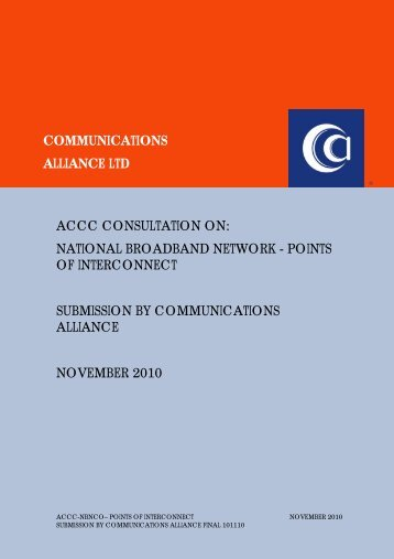 Nov-10 ACCC NBN Points of Interconnect - Communications Alliance