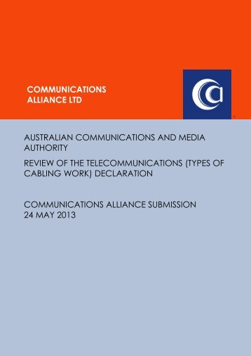(Types of Cabling Work) Declaration - Communications Alliance