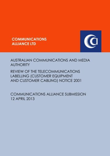 Apr 2013 ACMA Review of the Telecommunications Labelling Notice