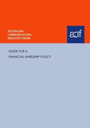 guide for a financial hardship policy - Communications Alliance
