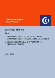 COMMUNICATIONS ALLIANCE LTD OPERATING MANUAL FOR ...