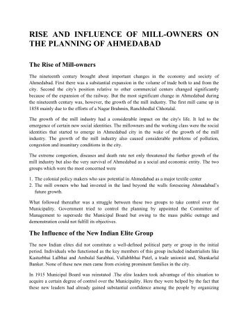 Influence of millowners on Ahmedabads planning