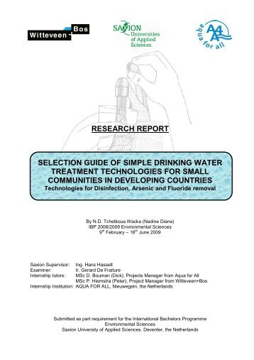 research report selection guide of simple drinking water treatment ...
