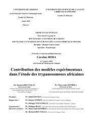 Contribution des modèles expérimentaux dans l'étude des ...