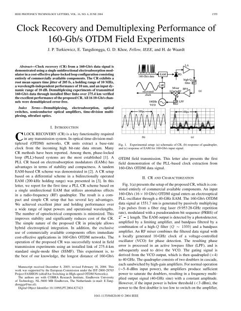 ieee photonics technology letters, vol  16, no  6
