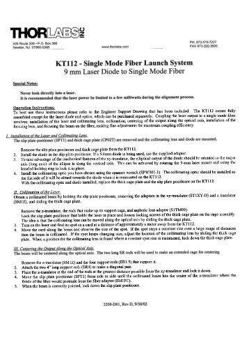 KTl12 - Single Mode Fiber Launch System 9 mm Laser Diode ... - OED
